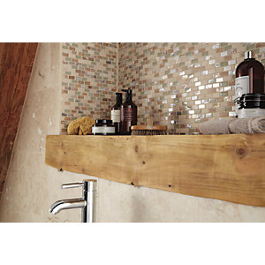 Wickes Cream Pearl Glass Stone & Metal Mini Brick Mosaic Tile - 300 x 285mm