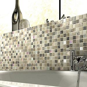 Wickes Emperador Brown & Cream Tumbled Stone Mix Mosaic Tile - 305 x 305mm