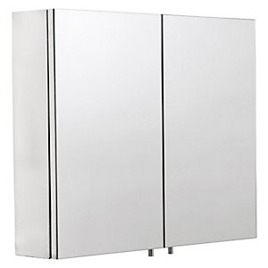 Wickes Finchley Folded Stainless Steel & MDF Carcass Double Door Bathroom Cabinet - 670 x 600mm
