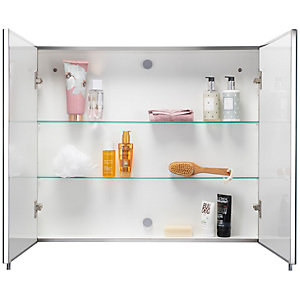 Wickes Finchley Folded Stainless Steel & MDF Carcass Double Door Bathroom Cabinet - 670 x 800mm