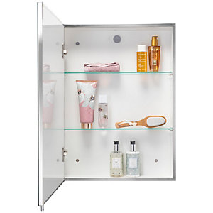 Wickes Finchley Folded Stainless Steel & MDF Carcass Single Door Bathroom Cabinet - 670 x 400mm