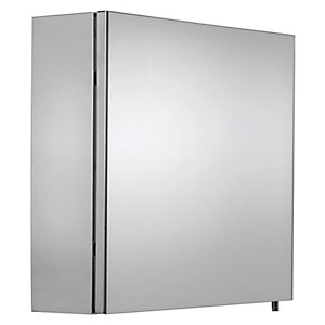 Wickes Finchley Folded Stainless Steel & MDF Carcass Single Door Bathroom Cabinet - 670 x 500mm
