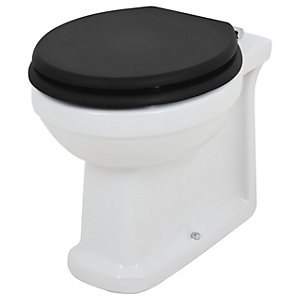 Wickes Oxford Traditional Back To Wall Toilet Pan & Black Soft Close Seat