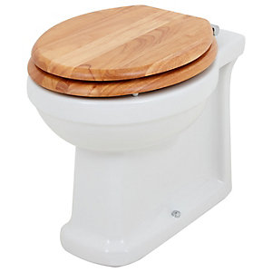 Wickes Oxford Traditional Back To Wall Toilet Pan & Oak Soft Close Seat