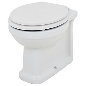 Wickes Oxford Traditional Back To Wall Toilet Pan & White Soft Close Seat