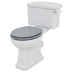 Wickes Oxford Traditional Close Coupled Toilet Pan Cistern & Grey Soft Close Seat