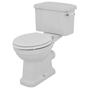 Wickes Oxford Traditional Close Coupled Toilet Pan Cistern & White Soft Close Seat