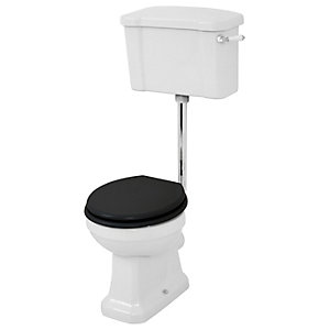 Wickes Oxford Traditional Low Level Toilet Pan Cistern & Black Soft Close Seat