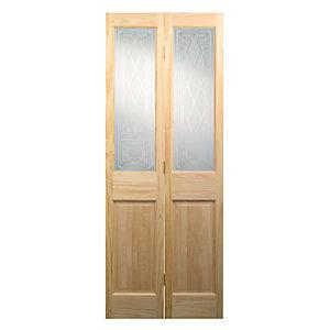Wickes Skipton Glazed Clear Pine 4 Panel Internal Bi-Fold Door - 1981mm x 686mm
