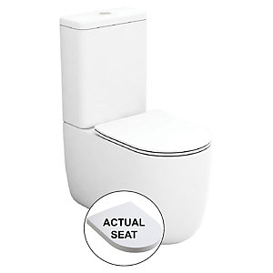 Wickes Teramo Easy Clean Close Coupled Toilet Pan & Soft Close Wrap Over Seat