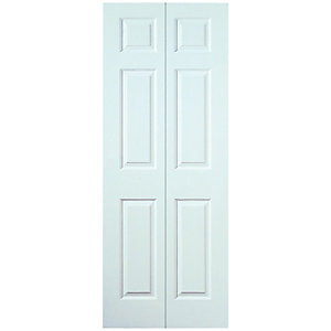 Wickes Woburn White Grained Moulded 6 Panel Internal Bi-Fold Door - 1981mm x 610mm