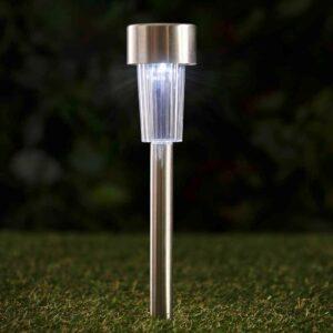 Wilko 10 pack Garden Solar Light Markers Small Plastic/SS