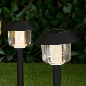 Wilko 4 pack Round Post Garden Solar Light Markers Plastic, s/s