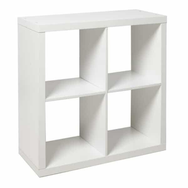 Wilko Oslo White 4 Cube Storage Shelving Unit MDF