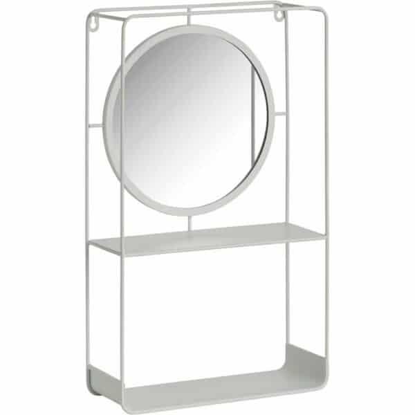 Wilko White Shelving Mirror Unit Iron, Glass