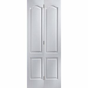 4 panel Primed White Woodgrain effect Internal Bi-fold Door set (H)1950mm (W)750mm
