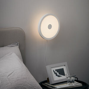 Azagny Matt White Sand effect Plug-in Wall light
