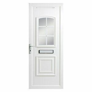 B&Q Georgian 2 panel Glazed White uPVC RH External Front Door set (H)2055mm (W)920mm