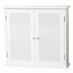 Classic Mirrored Double Door Cabinet - White