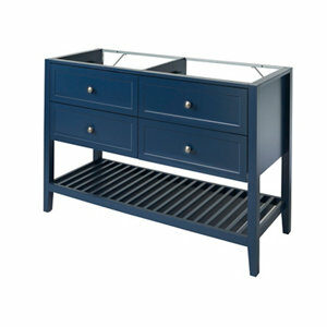 GoodHome Perma Satin Blue Freestanding Bathroom Vanity Cabinet (W)1200mm (H)806mm
