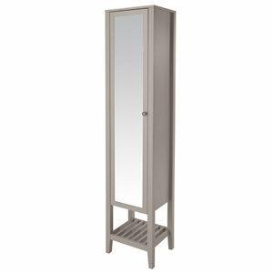 GoodHome Perma Satin Grey Tall Freestanding Mirrored door Bathroom Cabinet (W)402mm (H)1850mm
