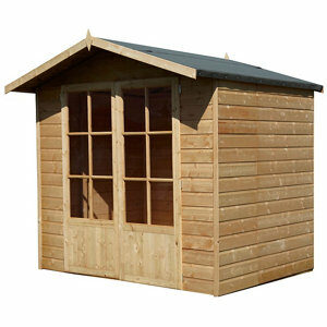 Shire Lumley 7x5 Toughened glass Apex Shiplap Wooden Summer house (Base included) - Assembly service included