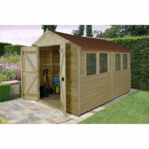 10x8ft Forest T&G Pressure Treated Double Door Apex Shed - incl. Installation