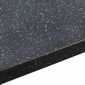 34mm Black Star Black & Light Grey Stone Effect Earthstone Round Edge Kitchen Worktop