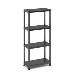 4 Shelf Polypropylene Shelving Unit (H)1350mm (W)600mm Black