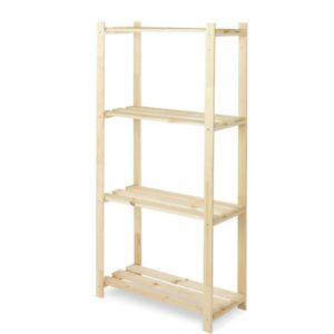 4 Shelf Wood Shelving Unit (H)1300mm (W)650mm Natural