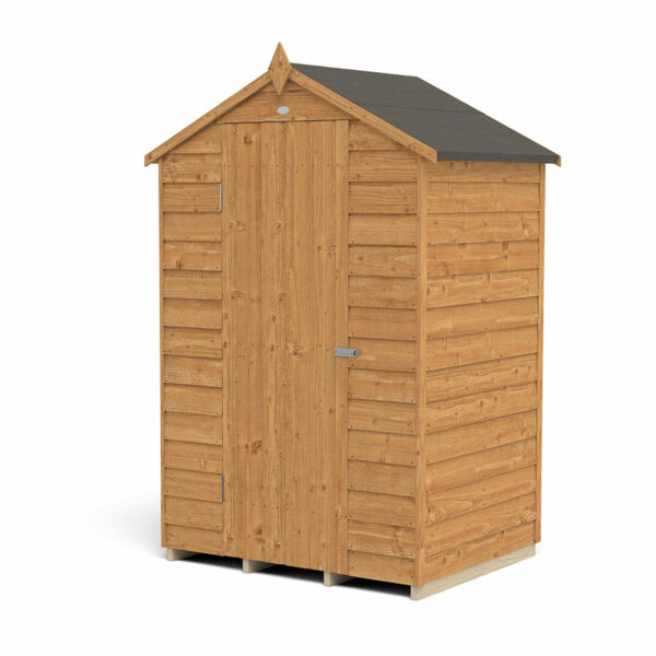 4x3ft Forest Overlap Dip Treated Apex Shed - No Window -incl. Installation
