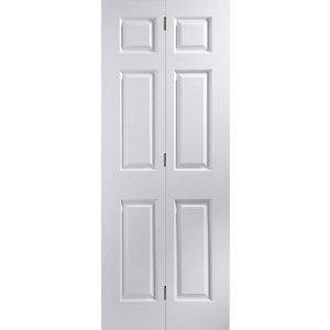 6 panel Primed White Woodgrain effect Internal Bi-fold Door set (H)1950mm (W)595mm