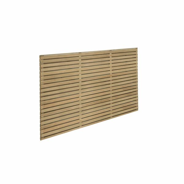 6ft x 4ft (1.8m x 1.2m) Pressure Treated Contemporary Double Slatted Fence Panel - Pack of 4