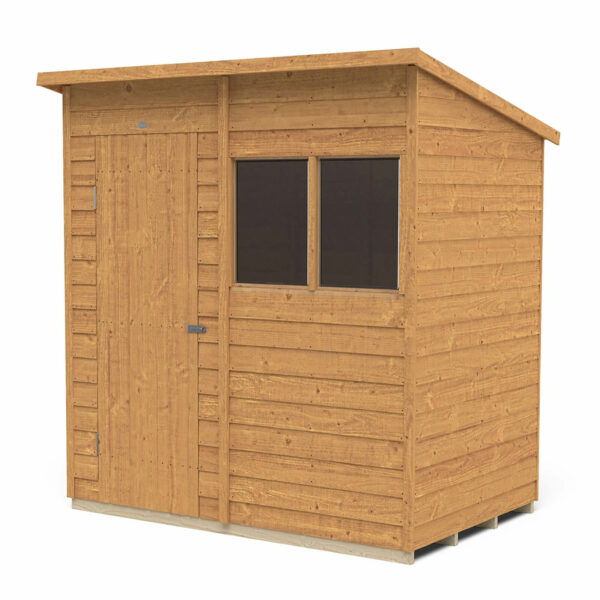 6x4ft Forest Overlap Dip Treated Pent Shed - incl. Installation