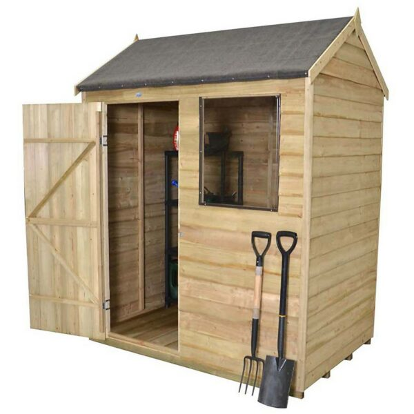 6x4ft Forest Wooden Overlap Pressure Treated Reverse Apex Shed -incl. Installation