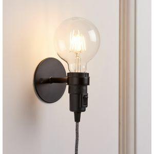 Anton Matt Black Plug-In Wall Light