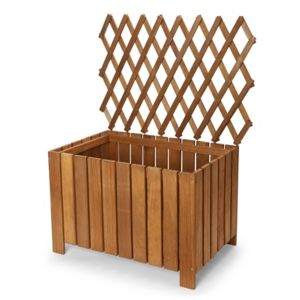 Blooma Bopha Brown Wooden Rectangular Trough With Trellis 40Cm