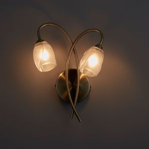 Colours Forbes Antique Brass Effect Double Wall Light