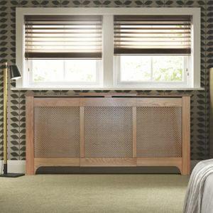 Colours Mayfair Medium - Large Oak Veneer Adjustable Radiator Cover