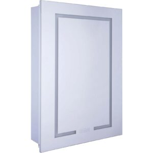 Croydex Clarence Single Door Illuminated Aluminium Bathroom Cabinet