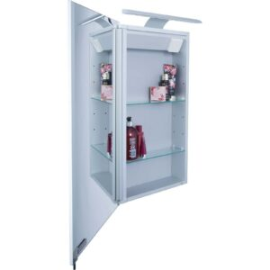 Croydex Jefferson Single Door Illuminate Aluminium Bathroom Cabinet
