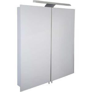 Croydex Sudbury Double Door Illuminated Aluminium Bathroom Cabinet