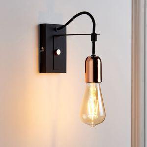 Detroit Black & Copper Wall Light