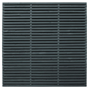 Forest Garden Double Slatted Grey Fence Panel 6 x 6 ft 4 Pack
