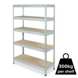 Form Exa 5 Shelf Medium-Density Fibreboard (Mdf) & Steel Shelving Unit (H)1800mm (W)1200mm Grey
