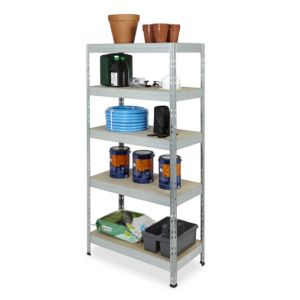 Form Exa 5 Shelf Medium-Density Fibreboard (Mdf) & Steel Shelving Unit (H)1800mm (W)900mm Grey