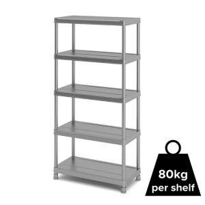 Form Major 5 Shelf Polypropylene Shelving Unit (H)1820mm (W)900mm Light Grey