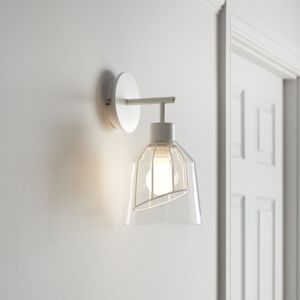 GoodHome Calaneo Matt Clear & White Wall Light