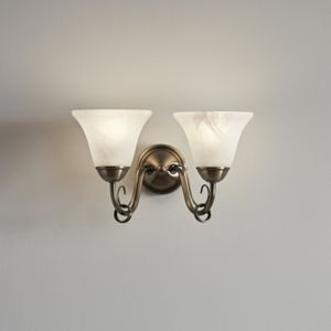 GoodHome Dives Antique Brass Effect Double Wall Light