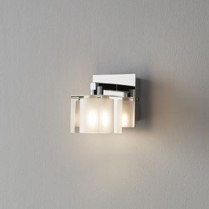 GoodHome Vergam Clear & Grey Chrome Effect Wall Light